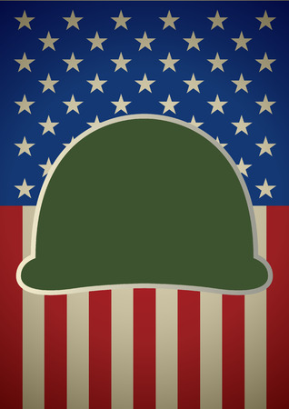 heroic: Graphic illustration of military helmet on United States of America flag. For Veterans Day, heroic, patriot, patriotism theme Illustration