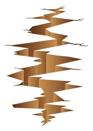 Illustrazione grafica di terra crack, disastro, concetto terremoto. Vettoriali