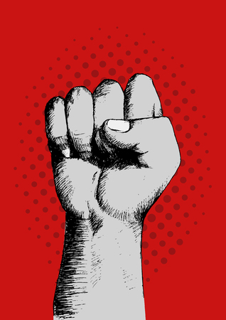 socialism: Sketch of a right fist on red background, spirit, propaganda, revolution concept