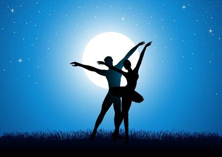 Silhouette illustration of a couple dancing ballet under full moon Illustration