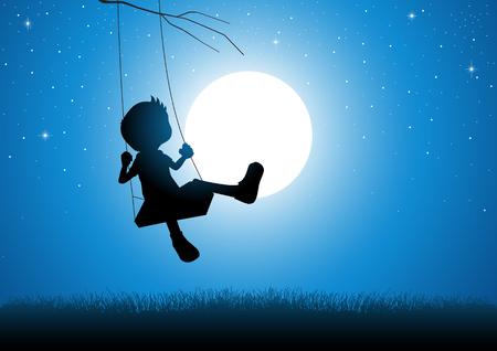 Silueta de la historieta de un niño jugando en un columpio durante la luna llena Ilustración de vector