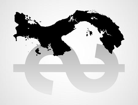 leak: Graphic illustration of Panama map with dollar symbol reflection, Panama papers data leak concept