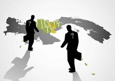 illustrazione Silhouette di uomini d'affari con la valigia che cammina per la mappa di Panama, carte Panama, scandalo, il concetto di corruzione Vettoriali