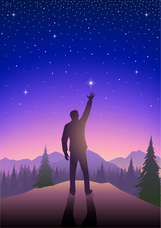 beautiful landscape: Silhouette illustration of a male figure reaching out for the star on beautiful landscape