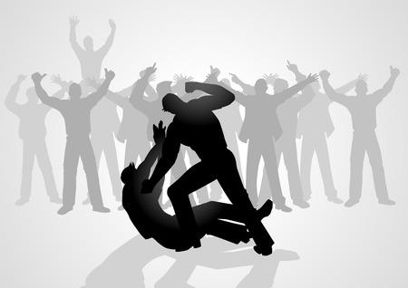 Ilustracja sylwetka mężczyzn walczących jest zegarka przez tłum ludzi