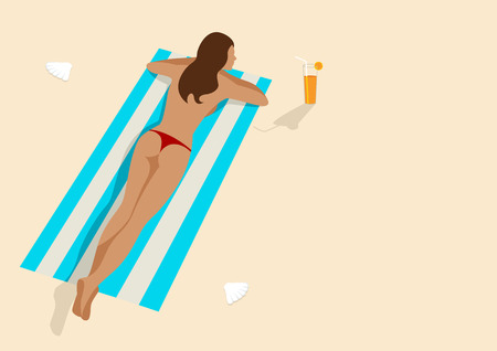 topless women: Graphic illustration of a woman sunbathing, for relaxing, leisure, holiday and recreation theme