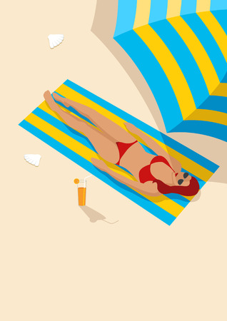 sunbathing: Graphic illustration of a woman sunbathing, for relaxing, leisure, holiday and recreation theme