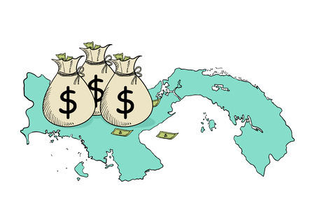 laundering: Sketch illustration of money bags on Panama map