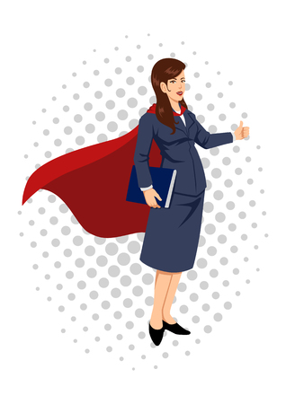 cape: Cartoon illustration of a super businesswoman