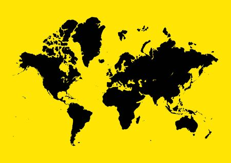 worldmap: Graphic illustration of world map on yellow background, blank, vector, infographic, world map Illustration