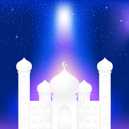blue mosque: Graphic illustration of a mosque on blue and starry night sky background. Islam, Islamic, Ramadan Kareem, Eid Mubarak theme