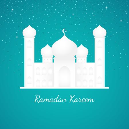 Graphic illustration of a mosque on tosca and starry night sky background. Islam, Islamic, Ramadan Kareem, Eid Mubarak theme