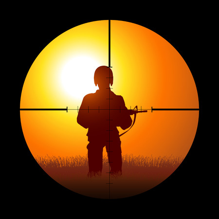 Silhouette illustration of a soldier being targeted by a sniper
