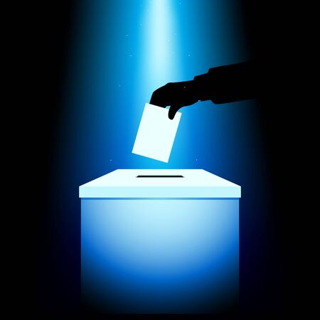 voting: Illustration of a voting box under blue light, hand silhouette putting voting paper in the ballot box Illustration