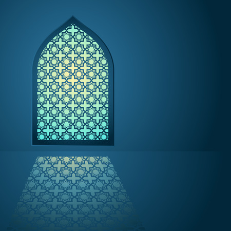 Graphic illustration of arabic pattern on mosque window