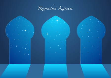 Graphic illustration of beautiful starry sky seen from mosque windows or doors