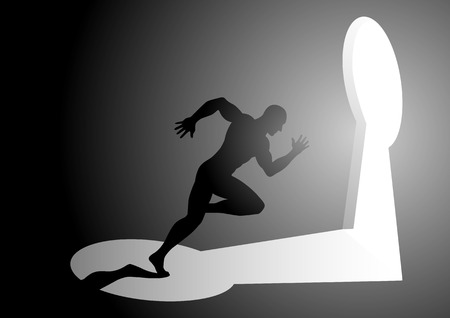 Silhouette illustration of a man running into a keyhole