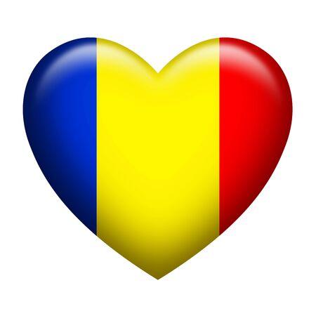 romania flag: Heart shape of Romanian insignia isolated on white