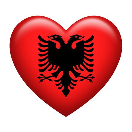 albanian: Heart shape of Albanian insignia isolated on white