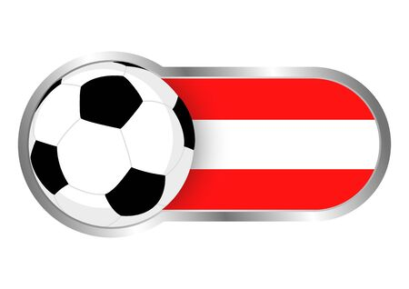 chrome ball: Modern icon for soccer team with Austria insignia Illustration