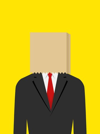 shame: Illustration of a businessman with paper bag on his head, embarrassment, ashamed, failure concept