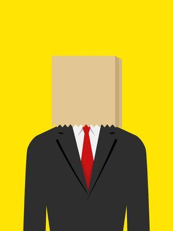 avergonzado: Ilustraci�n de un hombre de negocios con la bolsa de papel en la cabeza, verg�enza, verg�enza concepto de fracaso