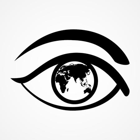 percepción: Ilustración gráfica de un ojo con el mapa del mundo Vectores