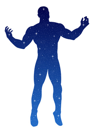male figure: Silhouette illustration of a male figure open his arms with stars texture