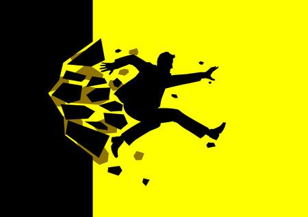Ilustración de la silueta de un hombre salto romper la pared. Negocio, avance, el éxito, el concepto de desafío