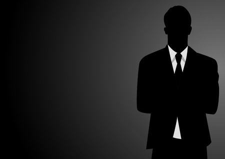 icon man: Silhouette illustration of a businessman on dark background Illustration