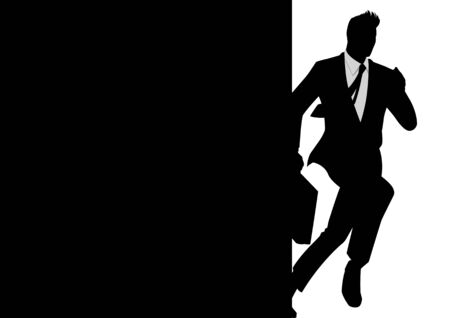 busy person: Silhouette illustration of a running businessman