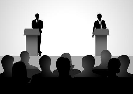 debating: Silhouette illustration of two men figure debating on podium