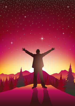 arms open: Silhouette of a man figure with open arms on top of hills during sunrise. Freedom, relief concept Illustration