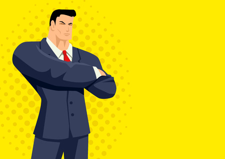 formal wear: Cartoon illustration of a businessman on yellow background