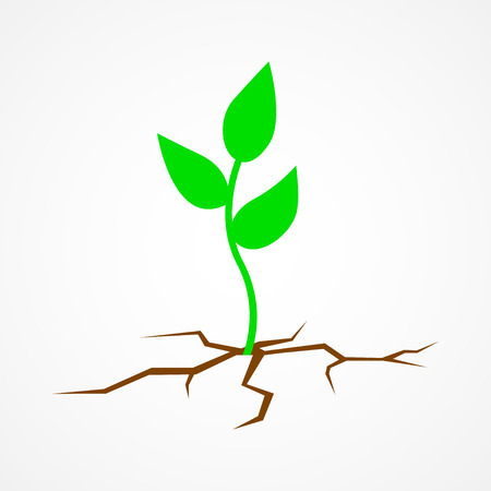Graphic illustration of a young tree growing on arid land, save the earth, go green, hope, environmental concept