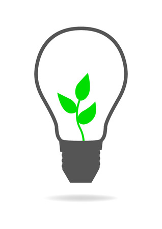 young leaves: Graphic illustration of a light bulb with young tree inside