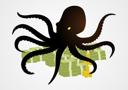 Silhouette illustration of an octopus holding money with its tentacles, business, corporation, conglomerate, capitalism concept Ilustração