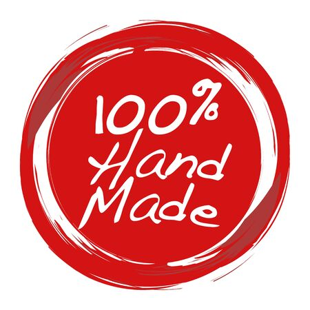 crafted: Stamp or label with writing font type, handmade stamp for hand crafted product