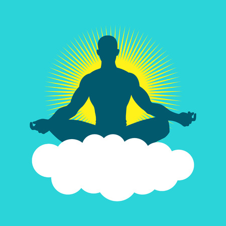 serene people: Silhouette of a man figure meditating with light burst as the background