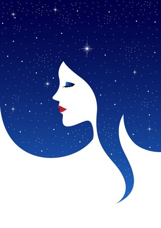 celestial: Graphic illustration of beautiful woman face with starry background hair
