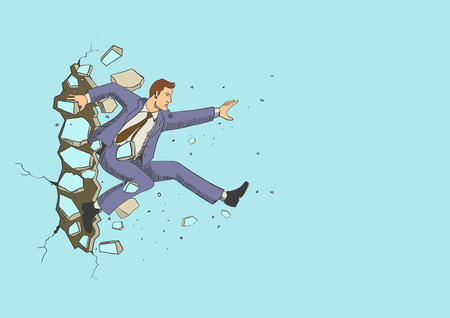 Illustration of a businessman jump breaking the wall. Business, breakthrough, success, challenge concept Ilustrace