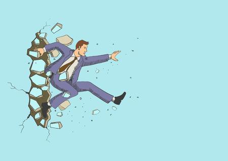 Ilustración de un hombre de negocios salto romper la pared. Negocio, avance, el éxito, el concepto de desafío