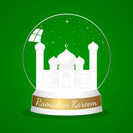 minaret: A mosque in crystal ball on green background. Islam, Islamic, Ramadan Kareem, Eid Mubarak theme