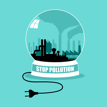 unplug: Factory in crystal ball, Stop pollution concept graphic