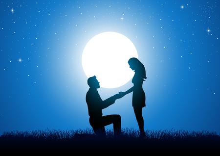 donna innamorata: Silhouette di un uomo in ginocchio e tenendo la mano di una donna in piedi contro bella notte stellata e la luna piena, per proporre, momento romantico, amante tema Vettoriali