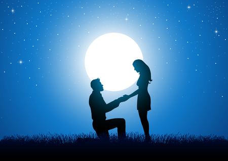kneeling: Silhouette of a man kneeling down and holding the hand of a standing woman against beautiful starry night and full moon, for proposing, romantic moment, lover theme