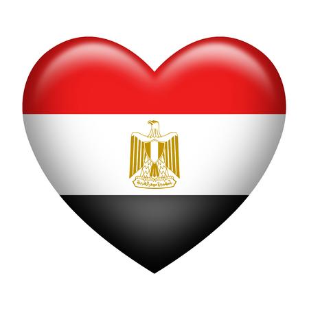 bandera de egipto: La forma del corazón de la bandera de Egipto aislado en blanco Foto de archivo