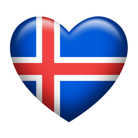 iceland flag: Heart shape of Iceland flag isolated on white
