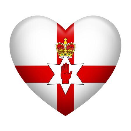 irish pride: Heart shape of Northern Ireland flag isolated on white Stock Photo
