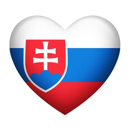 slovakia flag: Heart shape of Slovakia flag isolated on white